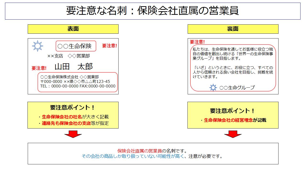 ダメな保険屋さんの名刺(直属営業員)